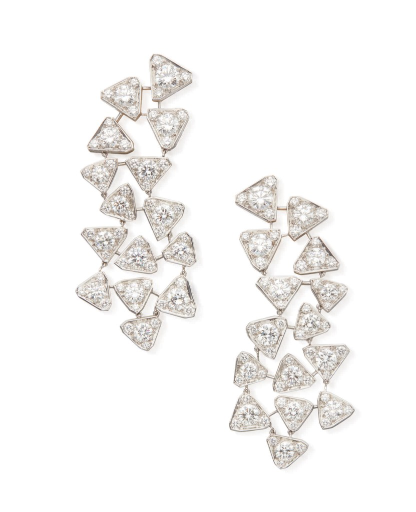 Pair of Diamond Earclips, Cartier, France