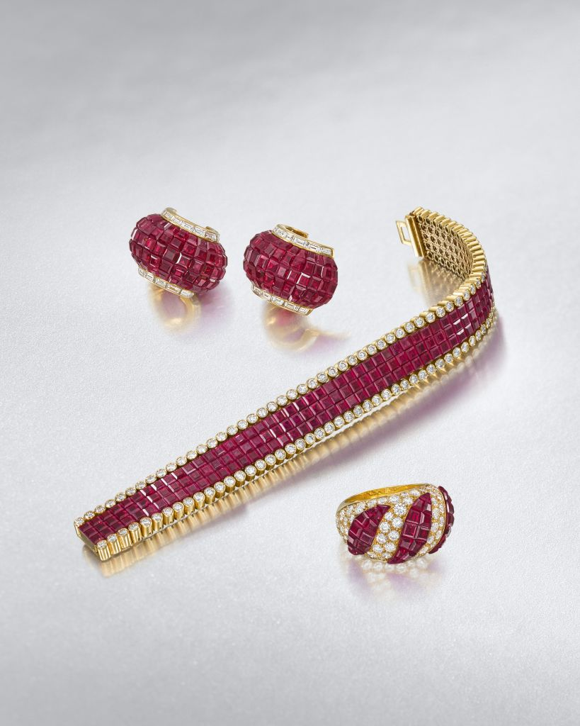 Private collection of ruby Mystery-set jewels by Van Cleef and Arpels