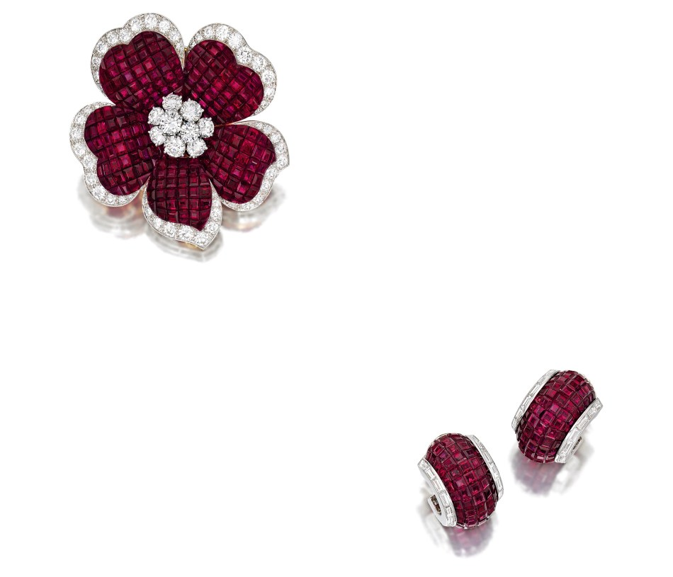 Ruby and Diamond Brooch and Earrings, 'Serti Mystérieux', Van Cleef & Arpels