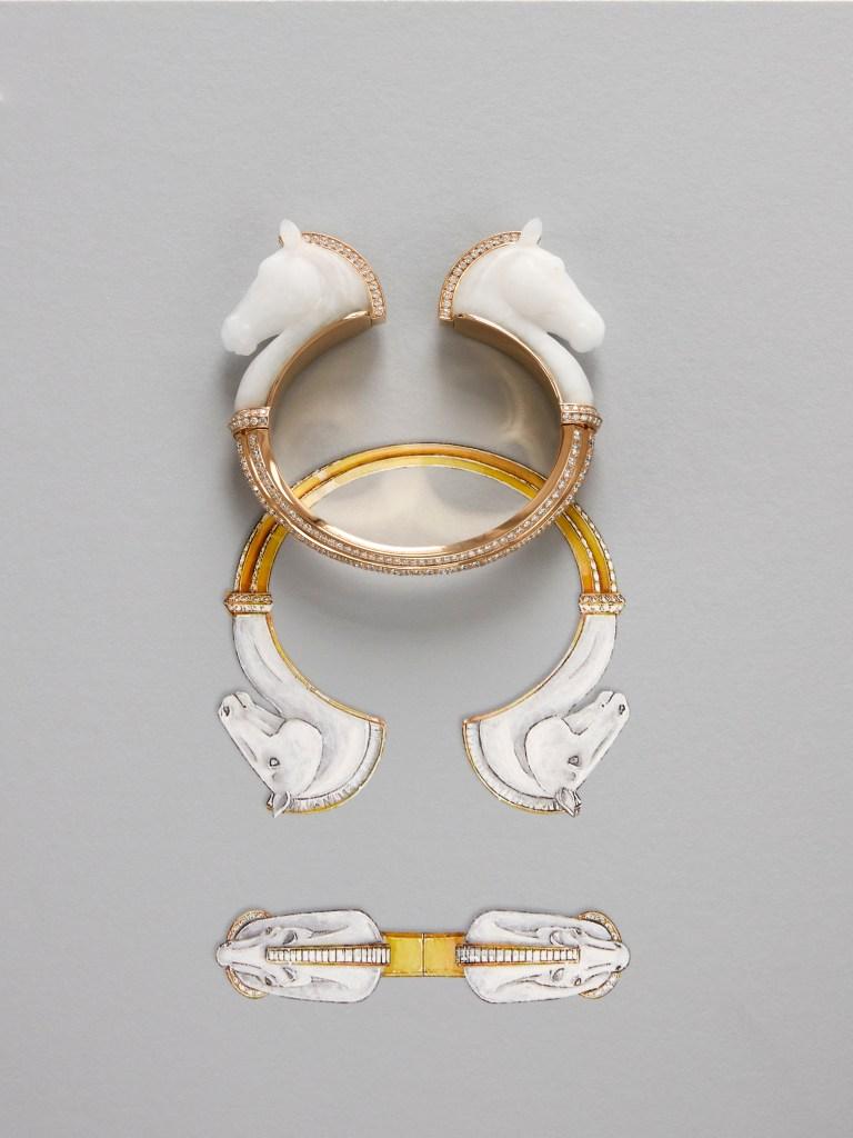 2019 HJ collection Paris, vu du 26 - Cheval de l'Opéra bracelet final presentation in front of its drawing