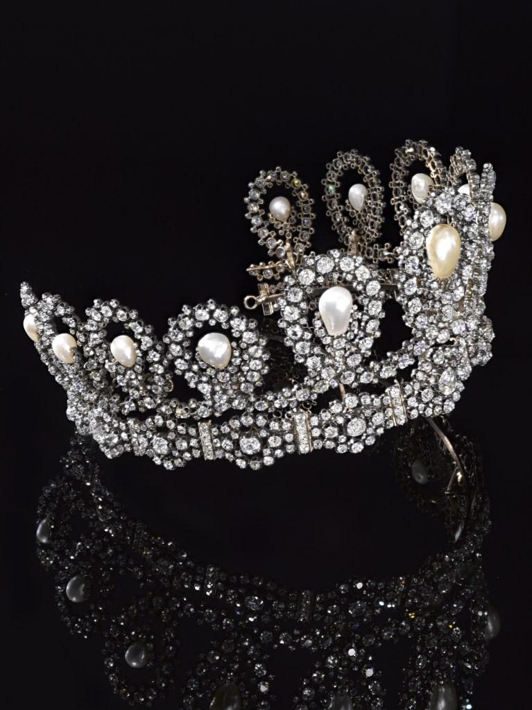 House of Savoy natural pearl and diamond tiara at Sotheby's Geneva