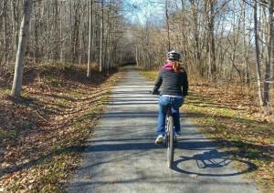 Biking on Deckers Creek Rail Trail