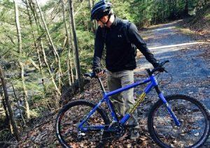 Biker on Deckers Creek Rail Trail
