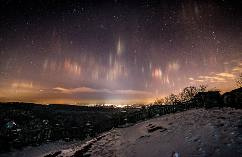 WV Night Photography: Coopers Rock Light Pillars