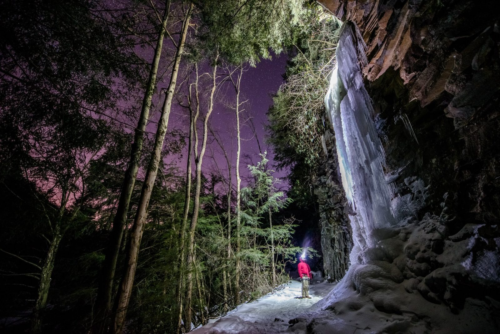 WV Night Photography: Ice Climbing