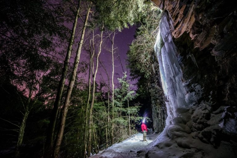 WV Night Photography: Ice Climbing
