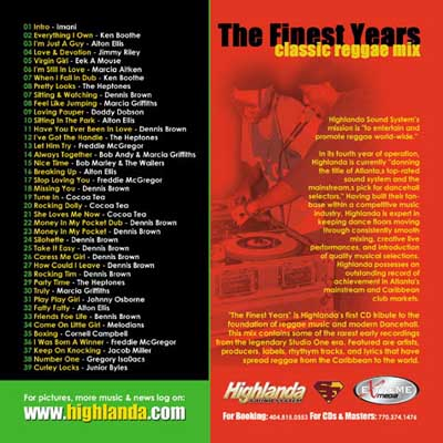 The Finest Years - classic reggae mix CD cover