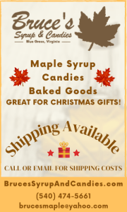 Highland County, Virginia, Bruce Folks, Bruce's Syrup and Candies, maple, syrup, sugar, candy, products, Christmas, present, presents, gift, gifts, holidays, baked goods, candies