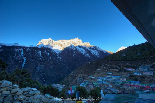 An early morning view looking over Namche Bazaar taken from the Panorama Hotel.