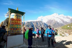 A prayer wheel at the outskirts of Namche Bazaar as we start the trek to Tengboche.