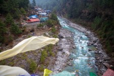 View of Jorsalle from the bridge crossing between Namche Bazaar and Phakding.