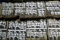 Mani stones on the trail between Phakding and Lukla.