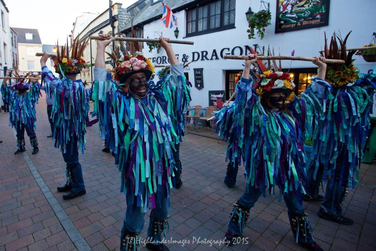 Morris dancing, Ilfracombe, Devon, UK.
