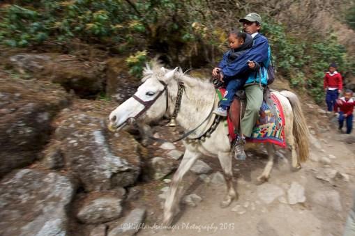 A horseman heads downhill taking his son to school between Phakding and Monjo.