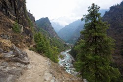 The beautiful Khumbu Valley and Dudh Kosi River on the way to Monjo from Phakding.