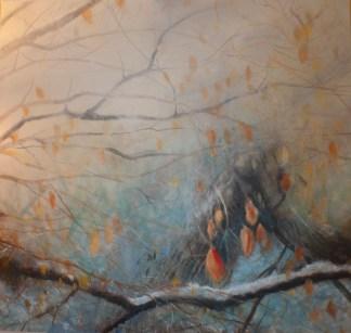 Leaves in Winter 6 - oil painting by Laura Murray Jones