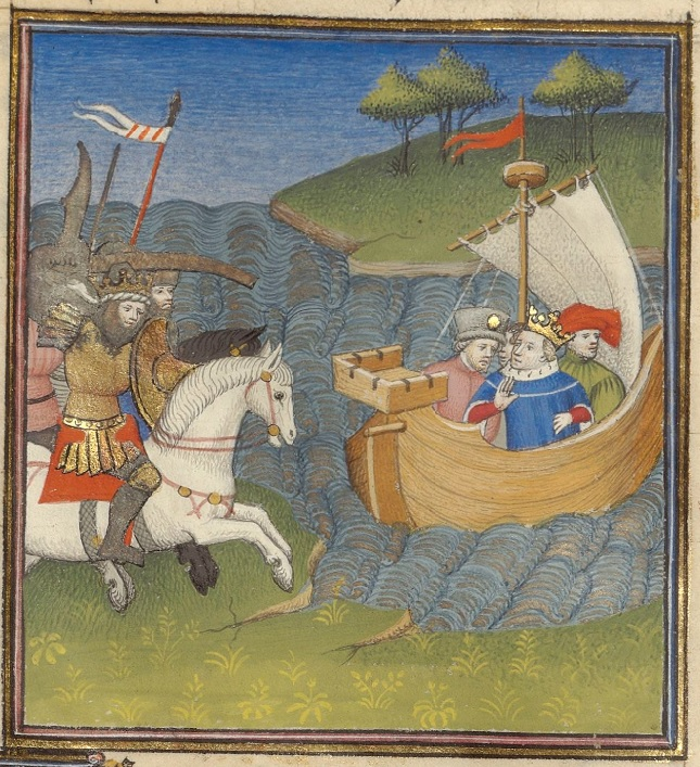 A river crosses the image. On the right side of the image is a sailboat with four men in it, one wearing a crown and a blue tunic. On the left side of the image is a person in gold armor, carrying a shield, riding on a white horse towards the boat. Other riders follow the premiere rider.
