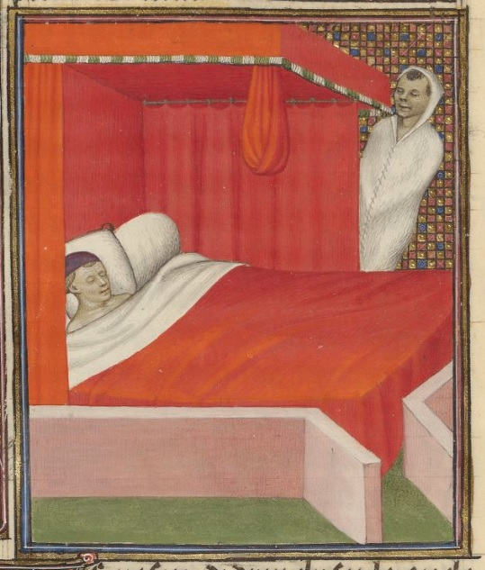 A naked man sleeps in a canopied bed with red blankets and curtains, with white pillows and sheets. A man is leaning diagonally to the right, mainly upright, from behind the bed curtains. He is in a white blanket sewn shut, and his eyes are closed.
