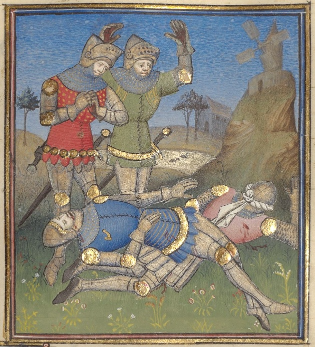 On the left side of the image stand two men in armor, with the face shields on their helms pushed up. One has a red tabard and clasped hands, one has a green tabard and his hands are thrown up in the air. On the ground in front of them are two men in armor lying on the ground, appearing dead. They are outside on green ground under a blue sky. In the distance are trees and a windmill.
