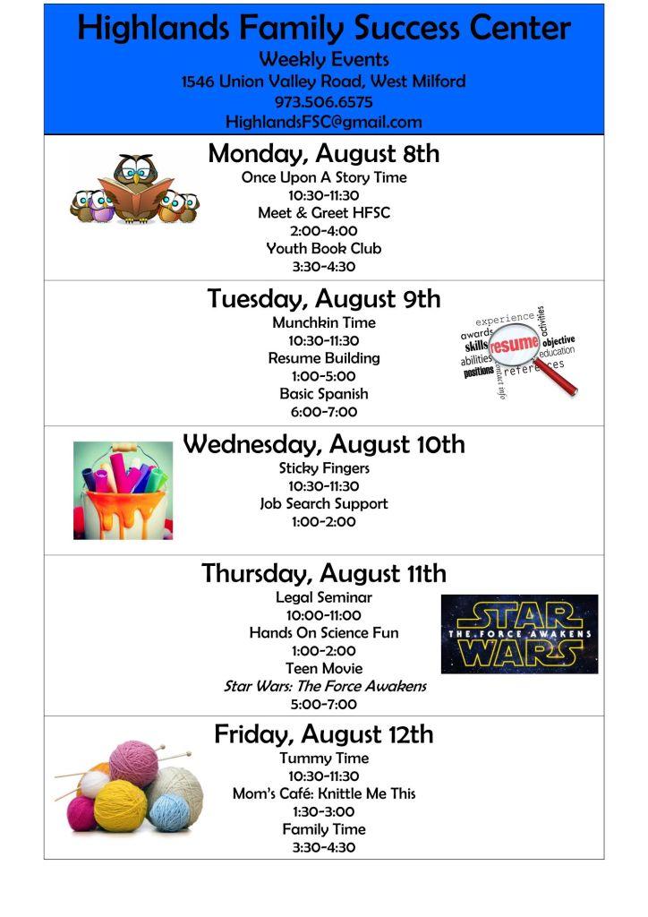 weekly calendar august 8