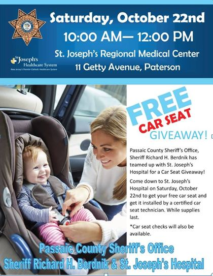 Passaic County Sheriffs Office Hosts Free Car Seat Giveaway At St Josephs Hospital