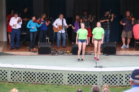 Mary Emma & Maggie MacNeil Dancing during the finale during 2013 Highland Village Day