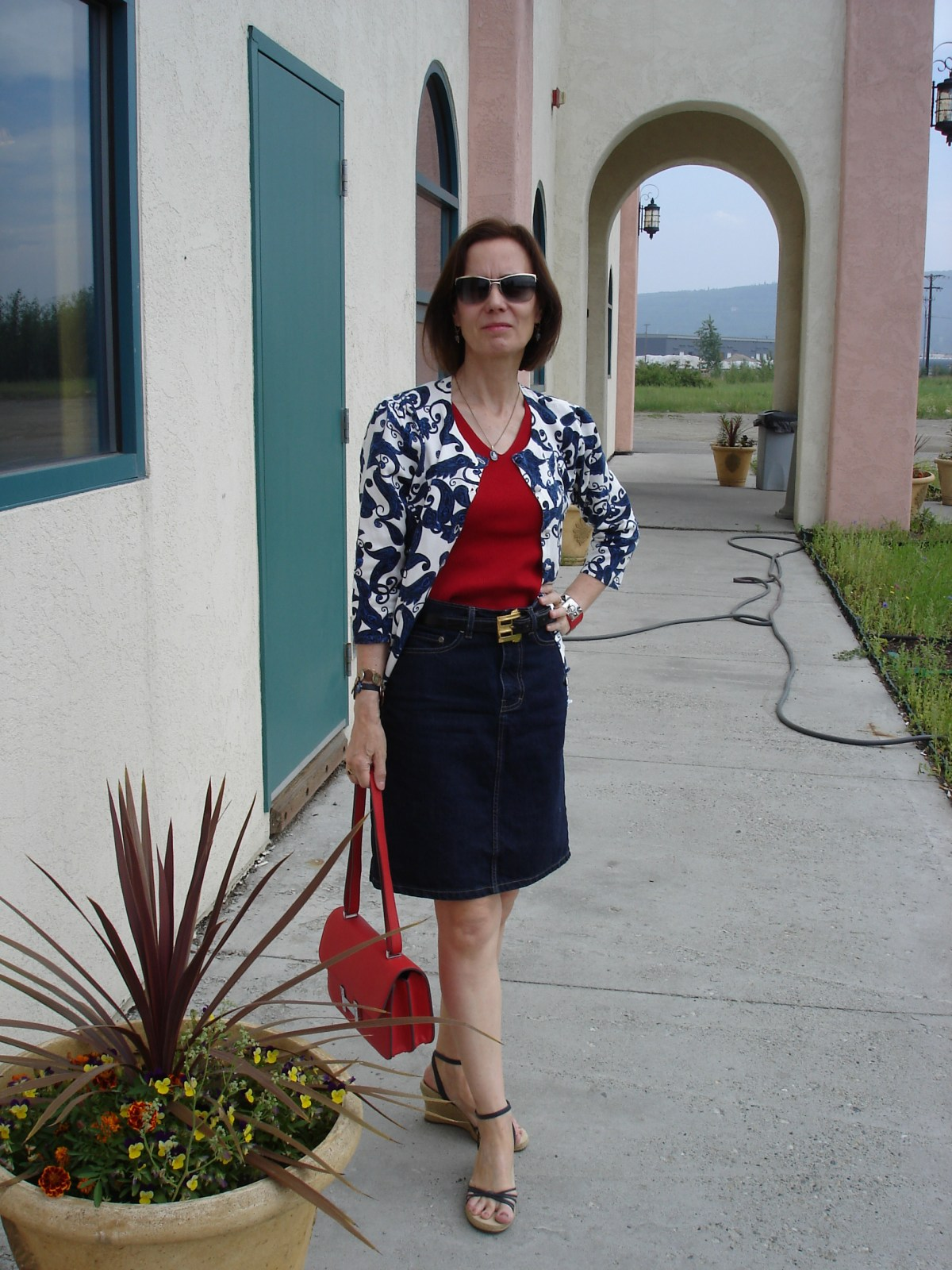 mature woman in a denim skirt for Casual Friday