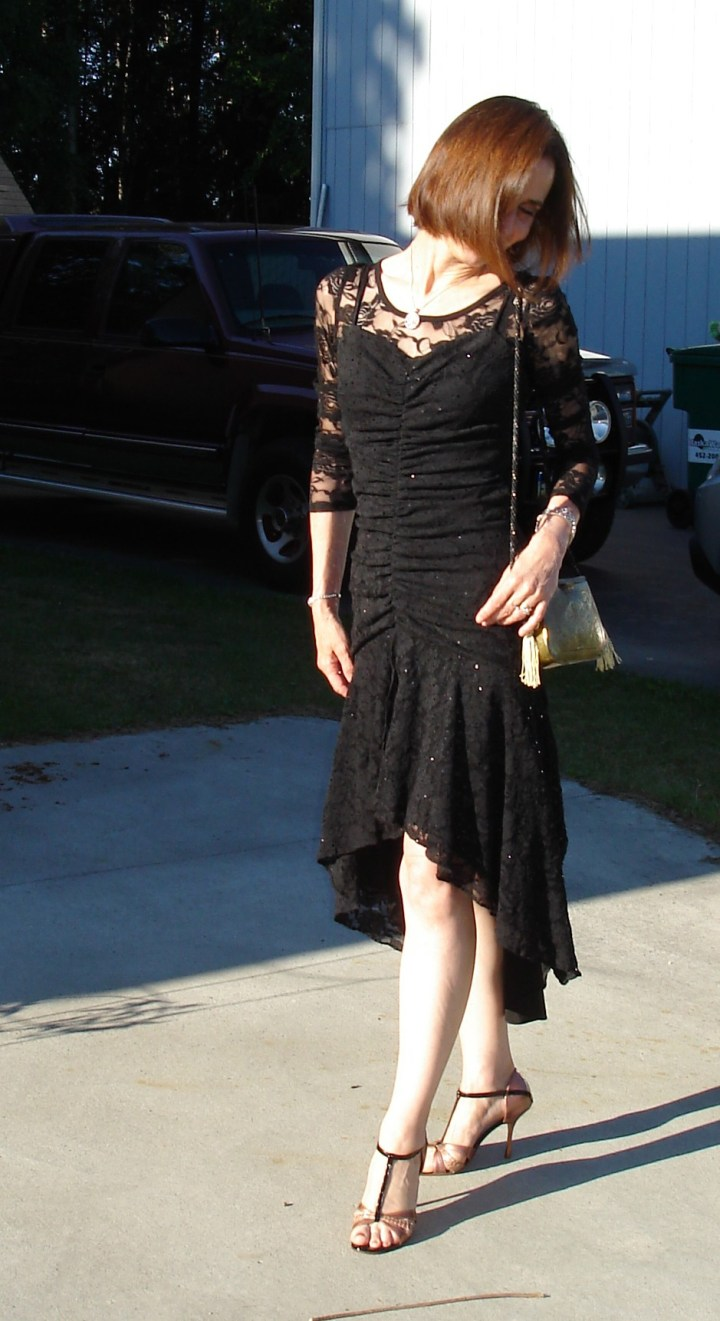 #styleover40 Mature woman in an ageless lace dinner dress