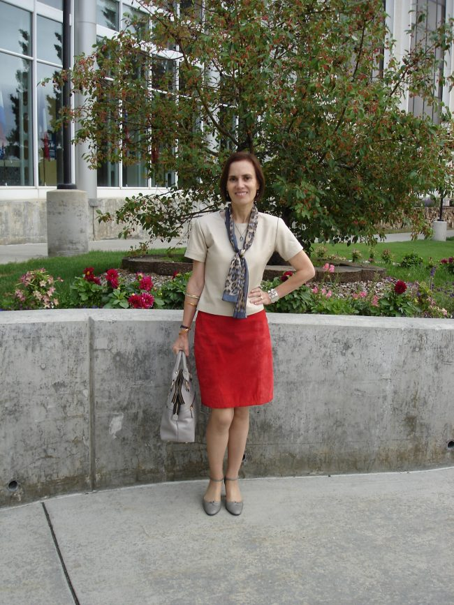 style book author wearing a suede skirt and nappa shell