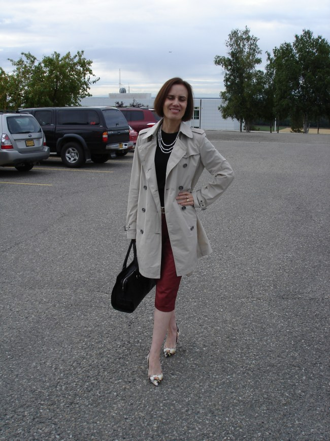over 40 fashion blogger in leather capri for the office