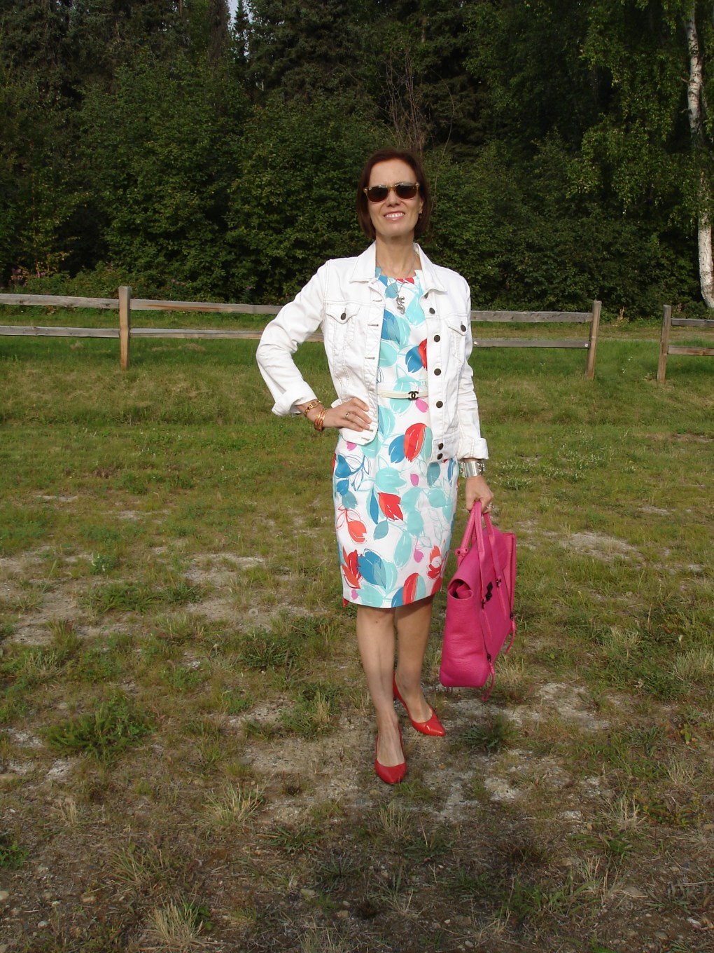 fashion over 40 woman in printed sheath