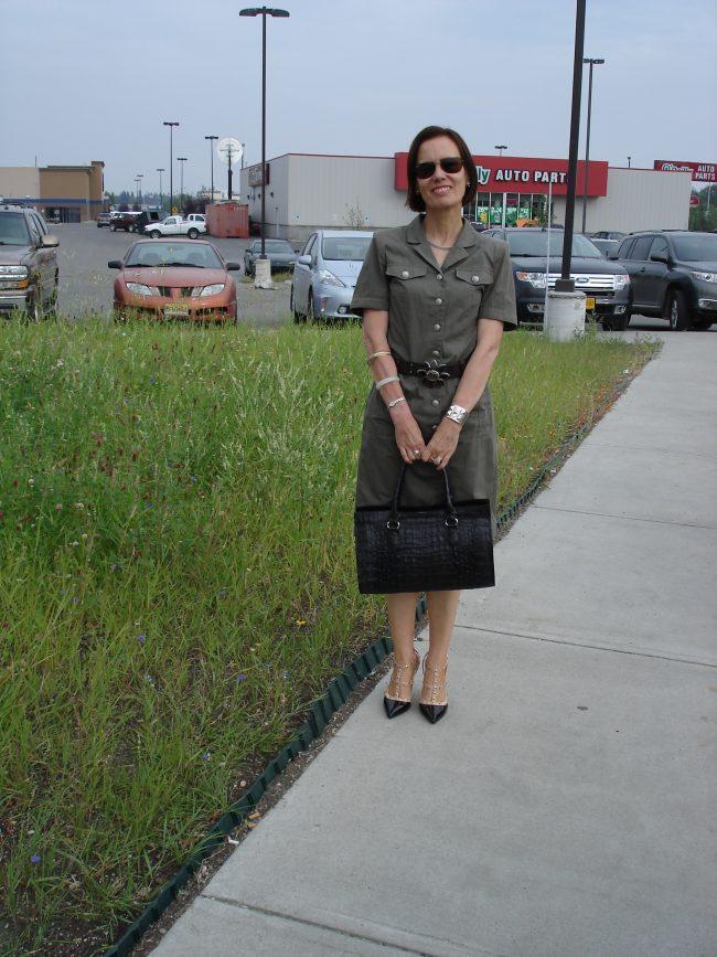 fashion blogger wearing an olive shirt dress