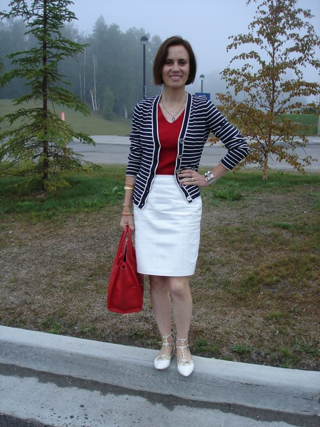 influencer in patriotic inspired outfit