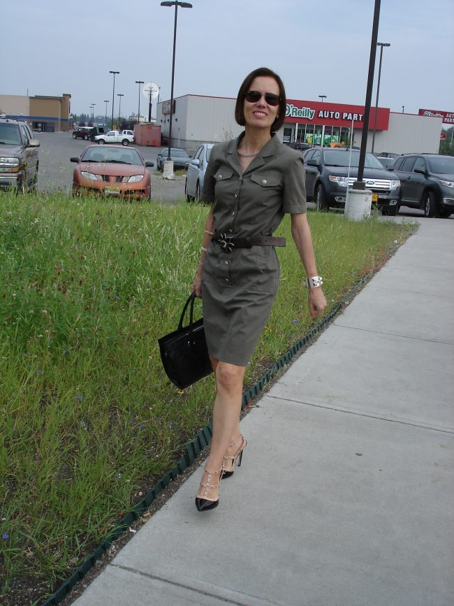 stylist in military inspired dress for work
