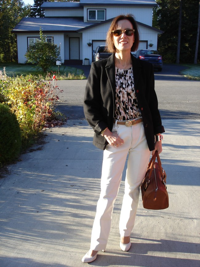 mature fall look with leather pants for the office