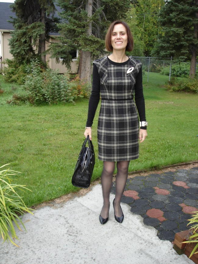 plaid sheath with statement sleeves
