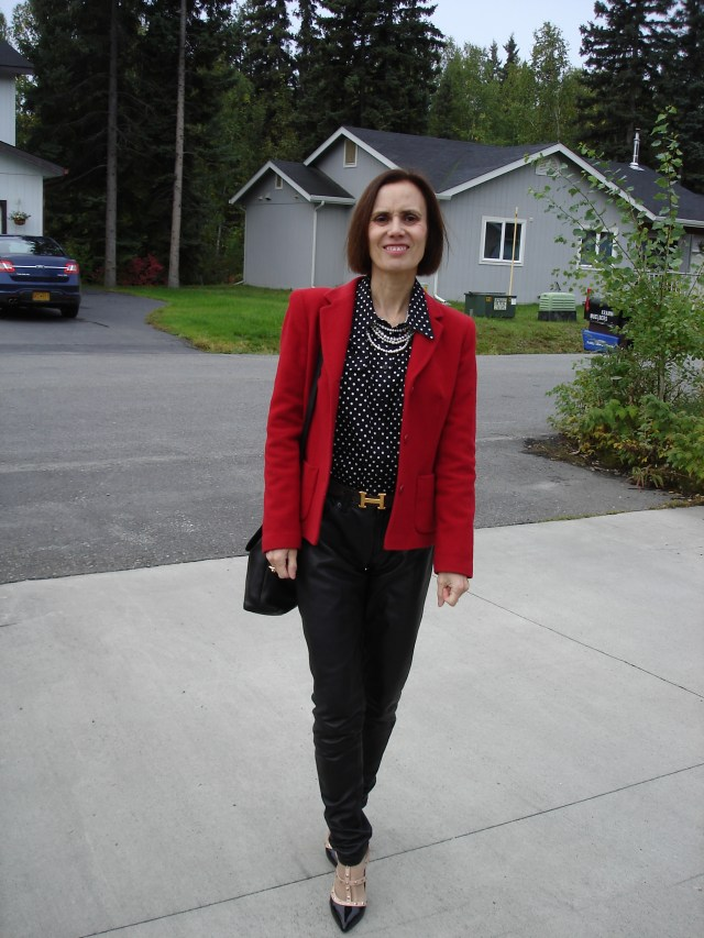 #advancedfashion over 40 year s old lady in leather pants and blazer