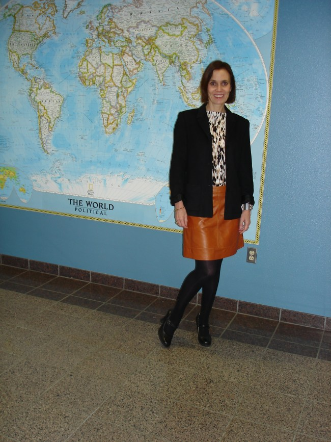 #over40 Work outfit with leather skirt for women over 40 | High Latitude Style | http://www.highlatitudestyle.com