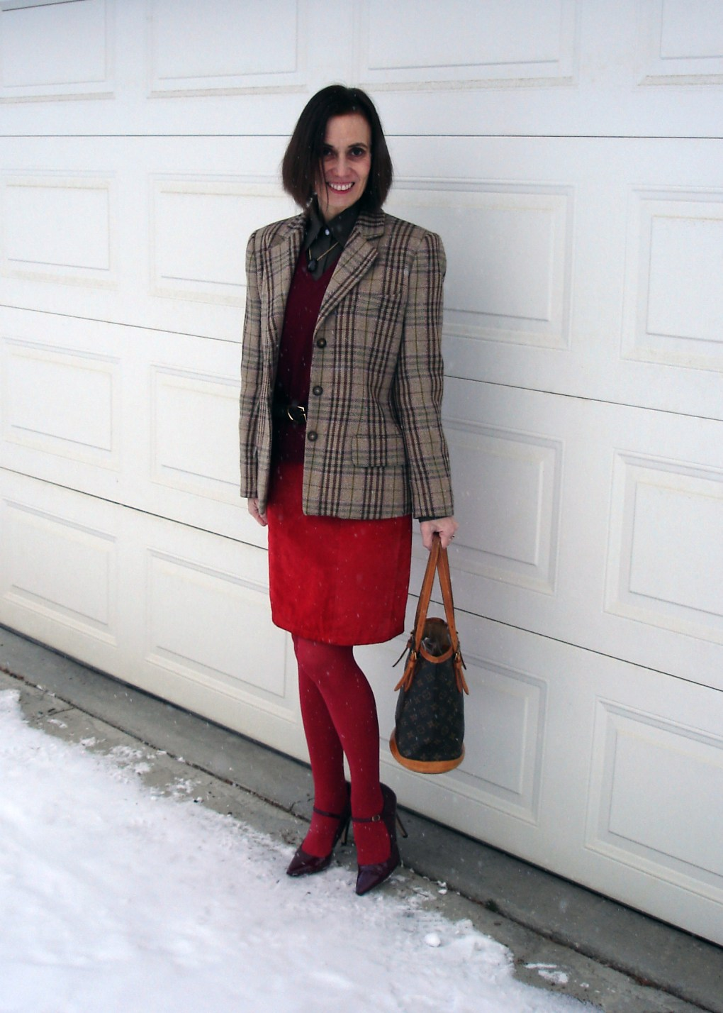 #styleover50 woman in work outfit styled in holiday vibe
