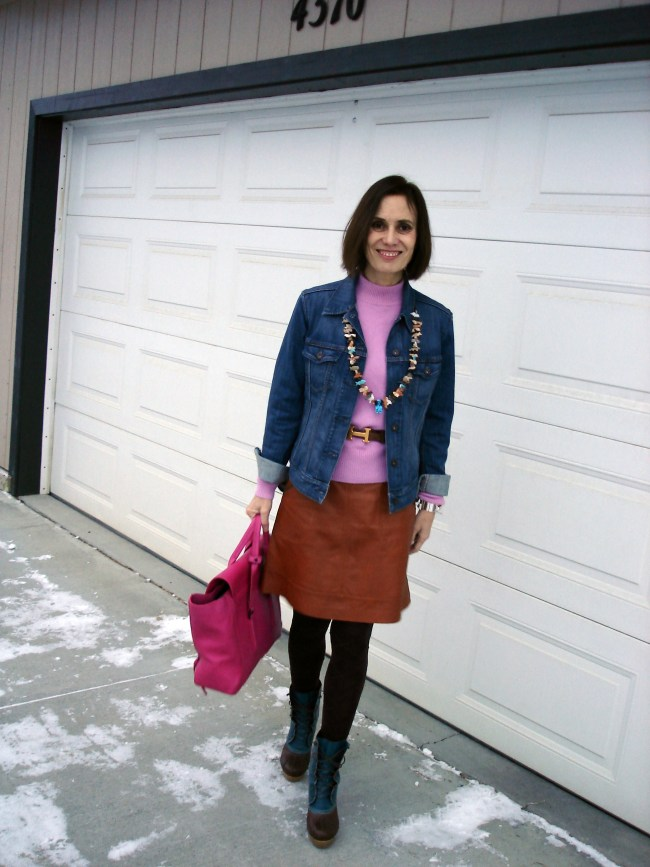 tan, blue, pink fall casual outfit with leather skirt