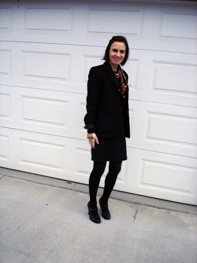 over 50 years old blogger in blazer, shorts, tights, Mary Janes