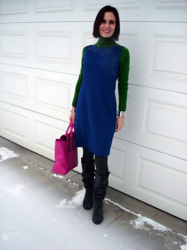 fashion blogger over 40 in a color blocked work outfit