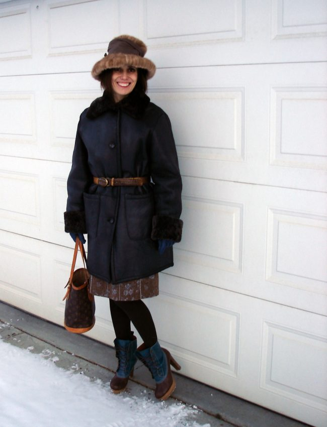 outerwear look with heeled ducks as statement footwear