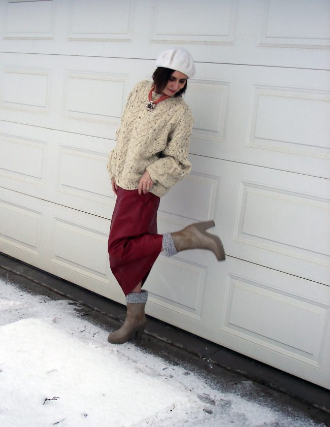 stylist in maxi-skirt with Humter rubber boots
