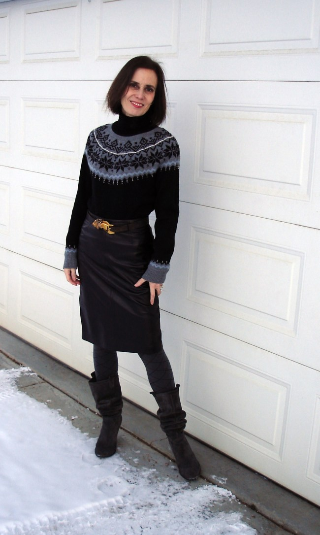 #fashionover40 Fair Isle sweater with leather pencil skirt @ http://www.highlatitudestyle.com