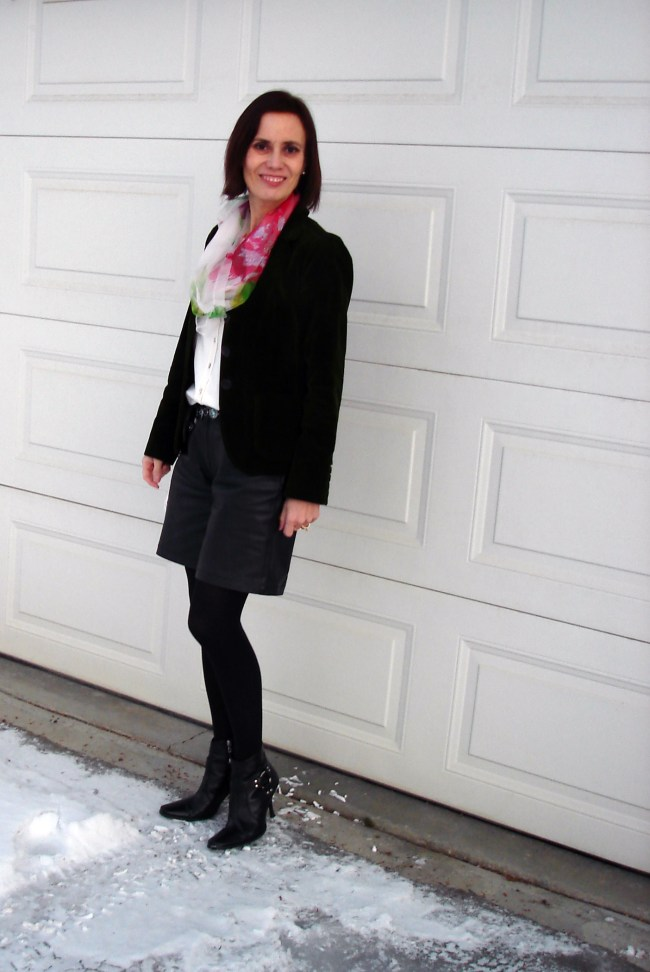 #fashionover40 mature woman in work outfit with leather shorts