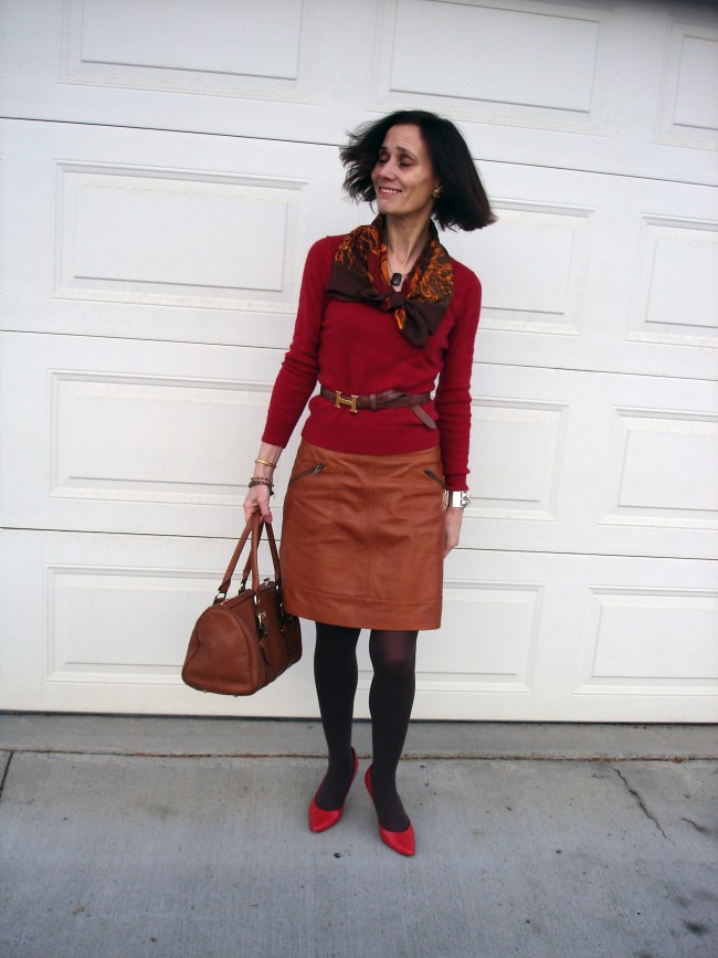 fashion blogger in Fall office look with tan leather skirt