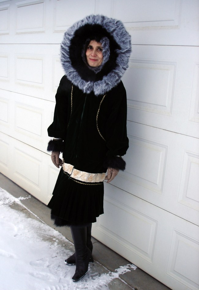Nicole of High Latitude Style in Thanksgiving outerwear with Alaska traditional Kuspak style parka