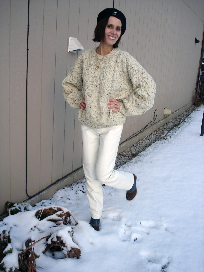style over 40 Winter outfit with leather pants and cable-knit sweater