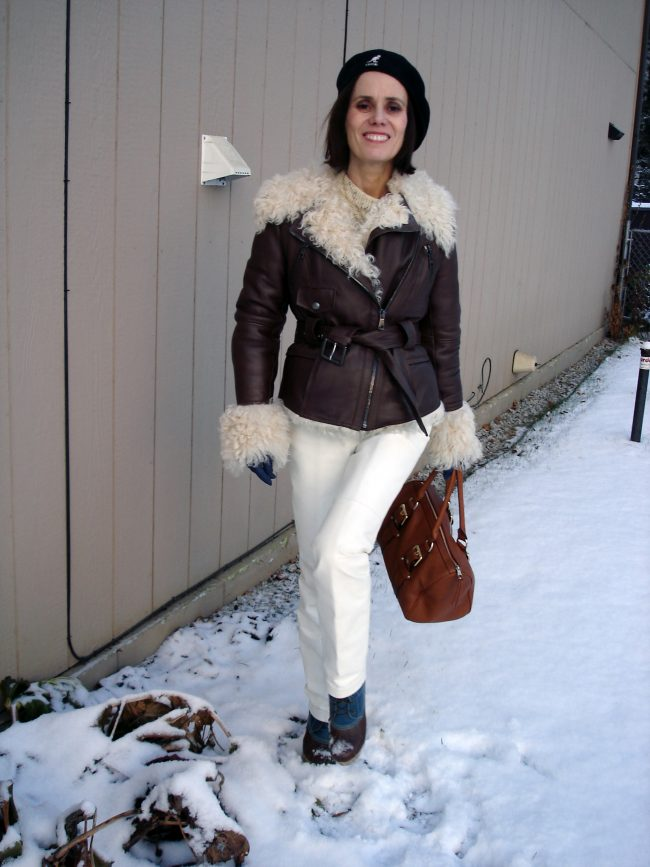 motorcycle shearling jacket over oversize cable knit sweater